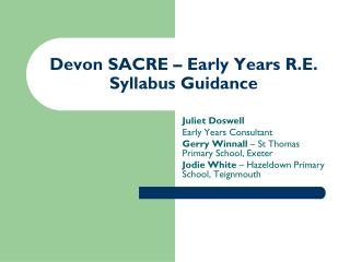 Devon SACRE – Early Years R.E. Syllabus Guidance