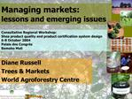 Managing markets:  lessons and emerging issues