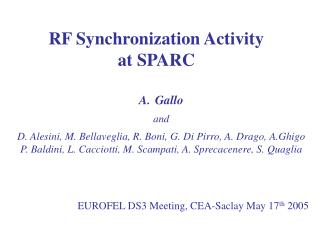 RF Synchronization Activity at SPARC