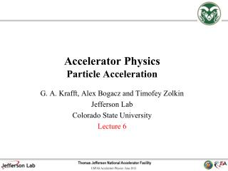 Accelerator Physics Particle Acceleration