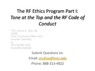 The RF Ethics Program Part I:  Tone at the Top and the RF Code of Conduct