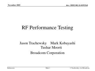 RF Performance Testing