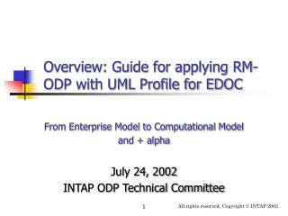 Overview: Guide for applying RM-ODP with UML Profile for EDOC