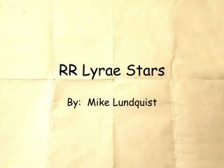 RR Lyrae Stars