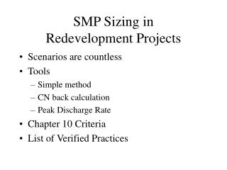 SMP Sizing in Redevelopment Projects
