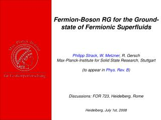 Fermion-Boson RG for the Ground- state of Fermionic Superfluids