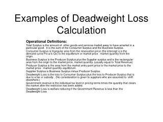 Examples of Deadweight Loss Calculation