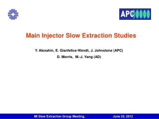 Main Injector Slow Extraction Studies