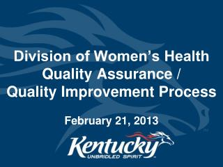 Division of Women's Health Quality Assurance /  Quality Improvement Process February 21, 2013