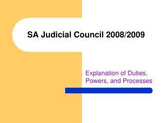 SA Judicial Council 2008/2009
