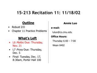 15-213 Recitation 11: 11/18/02