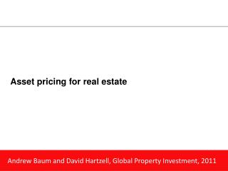 Asset pricing for real estate