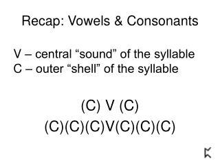 Recap: Vowels & Consonants