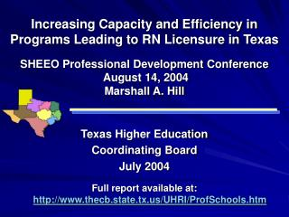 Increasing Capacity and Efficiency in Programs Leading to RN Licensure in Texas