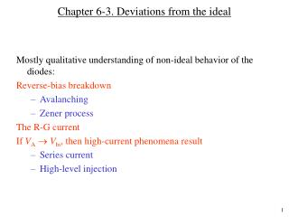 Chapter 6-3. Deviations from the ideal