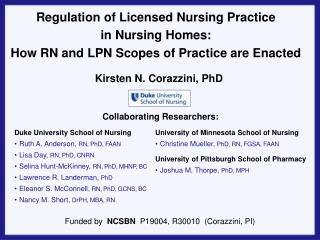 Regulation of Licensed Nursing Practice  in Nursing Homes: