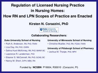 Regulation of Licensed Nursing Practice  in Nursing Homes: