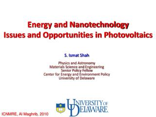 Energy and Nanotechnology  Issues and Opportunities in Photovoltaics