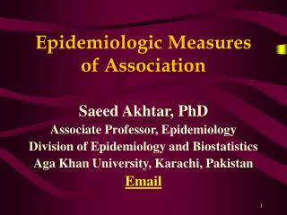 Epidemiologic Measures of Association