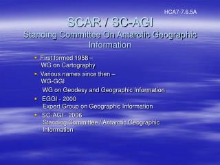 SCAR / SC-AGI Standing Committee On Antarctic Geographic Information
