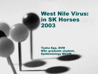 West Nile Virus: in SK Horses 2003 Tasha Epp, DVM  MSc graduate student, Epidemiology WCVM