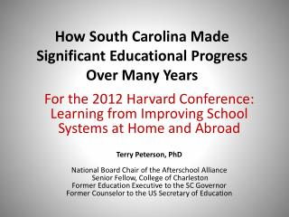 How South Carolina Made Significant Educational Progress  Over Many Years