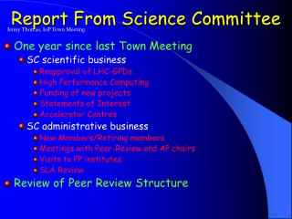 Report From Science Committee