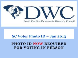 SC Voter Photo ID – Jan 2013