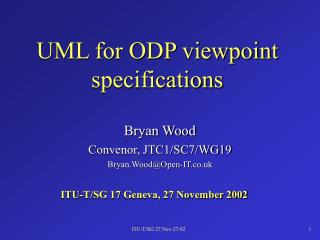 UML for ODP viewpoint specifications