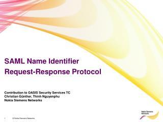 SAML Name Identifier  Request-Response Protocol