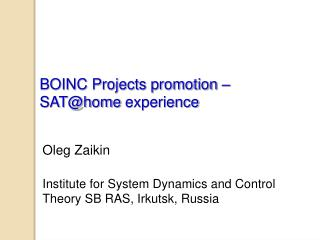 BOINC Projects promotion –  SAT@home  experience
