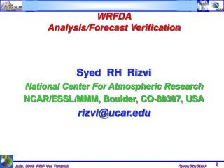 WRFDA Analysis/Forecast Verification