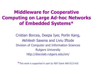 Middleware for Cooperative Computing on Large Ad-hoc Networks of Embedded Systems*
