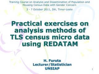 Practical exercises on analysis methods of  TLS census micro data  using REDATAM