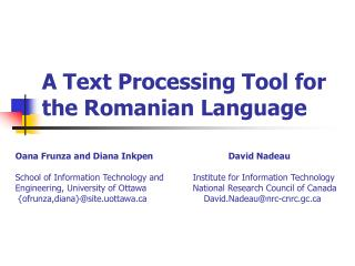 A Text Processing Tool for the Romanian Language