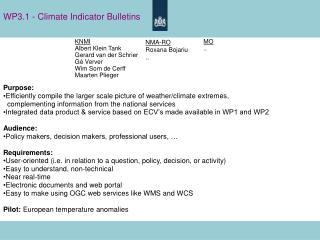 WP3.1 - Climate Indicator Bulletins