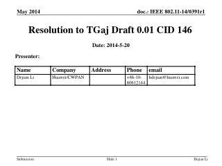 Resolution to TGaj Draft 0.01 CID  146