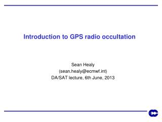 Introduction to GPS radio occultation