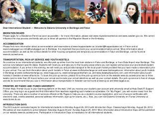 Dear International Student ― Welcome to Dalarna University in Borlänge and Falun MIGRATION BOARD