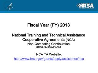 NCA TA Website: hrsa/grants/apply/assistance/nca