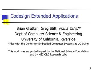 Codesign Extended Applications