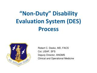 """Non-Duty"" Disability Evaluation System (DES) Process"