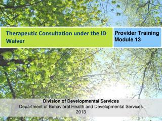 Therapeutic Consultation under the ID Waiver