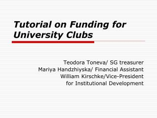 Tutorial on Funding for University Clubs