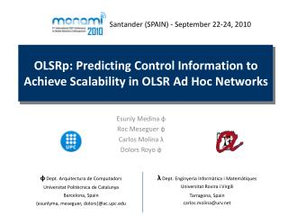 OLSRp: Predicting Control Information to Achieve Scalability in OLSR Ad Hoc Networks