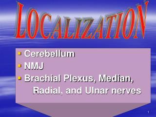 Cerebellum  NMJ  Brachial Plexus, Median,      Radial, and Ulnar nerves