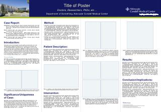 Title of Poster  Doctors, Researchers, PhDs, etc…