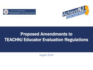 Proposed Amendments to  TEACHNJ Educator Evaluation Regulations
