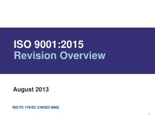 ISO 9001:2015  Revision Overview
