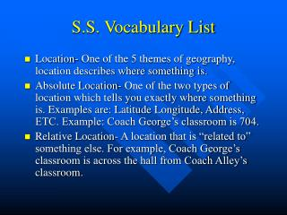 S.S. Vocabulary List